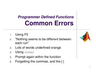 Programmer Defined Functions Common Errors