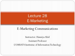 Lecture 28 E-Marketing
