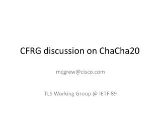 CFRG discussion on ChaCha20