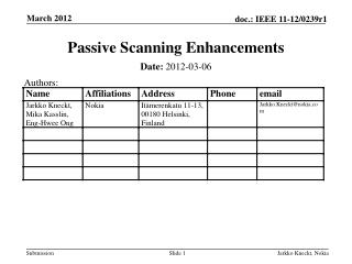 Passive Scanning  Enhancements
