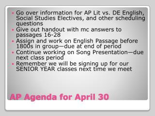 AP Agenda for April 30