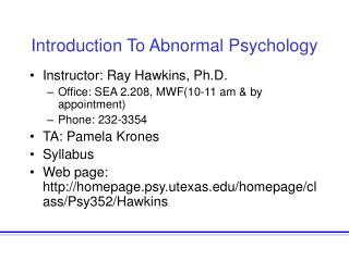 Introduction To Abnormal Psychology