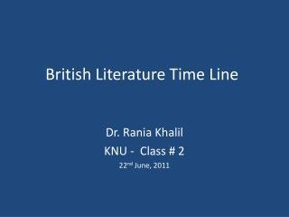 British Literature Time Line