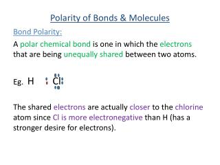 Polarity of Bonds & Molecules