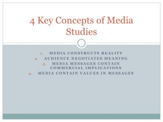4 Key Concepts of Media Studies