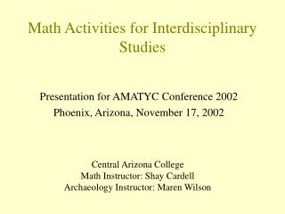 Math Activities for Interdisciplinary Studies