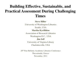 Building Effective, Sustainable, and Practical Assessment During Challenging Times