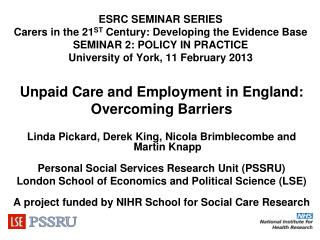 Unpaid Care and Employment in England: Overcoming Barriers
