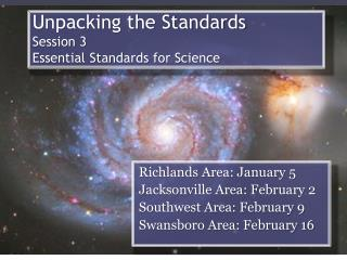 Unpacking the Standards Session 3 Essential Standards for Science