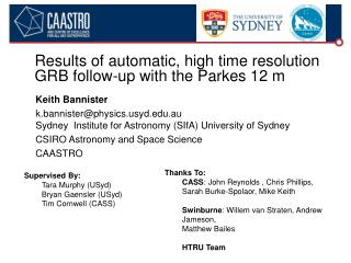 Results of automatic, high time resolution GRB follow-up with  t he Parkes  12  m