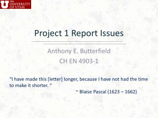 Project 1 Report Issues