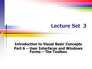 Lecture Set   3