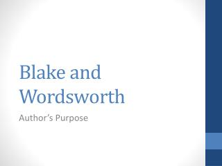 Blake and Wordsworth