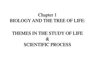 Chapter 1  BIOLOGY AND THE TREE OF LIFE:   THEMES IN THE STUDY OF LIFE  SCIENTIFIC PROCESS