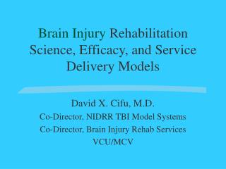 Brain Injury  Rehabilitation Science, Efficacy, and Service Delivery Models