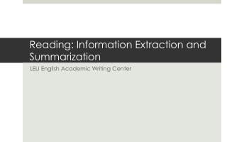 Reading:  Information Extraction  and  Summarization