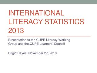 International literacy statistics 2013