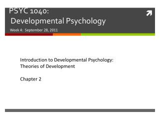 PSYC 1040:   Developmental Psychology