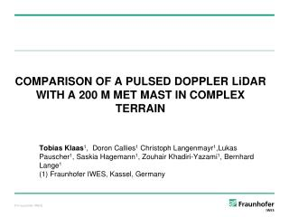 COMPARISON OF A PULSED DOPPLER LiDAR WITH A 200 M MET MAST IN COMPLEX TERRAIN