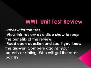 WWII Unit Test Review