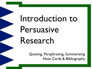 Introduction to Persuasive Research