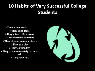 10 Habits of Very Successful College Students