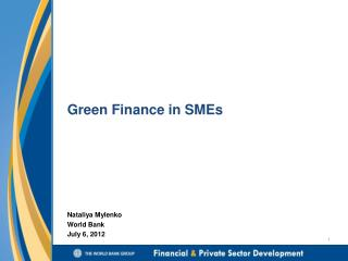 Green Finance in SMEs