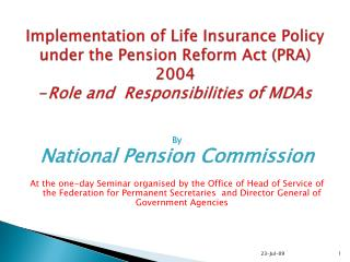 By  National Pension Commission