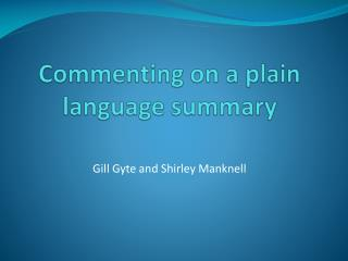 Commenting on a plain language summary