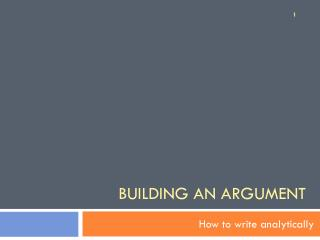 Building an Argument