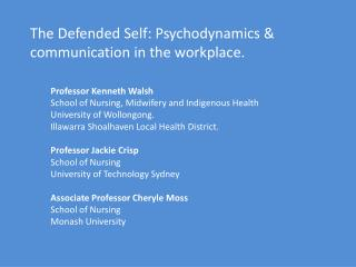 The Defended Self: Psychodynamics & communication in the workplace.