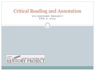 Critical Reading and Annotation