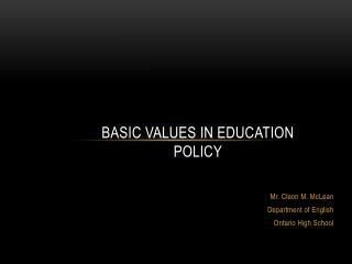 Basic Values in Education Policy