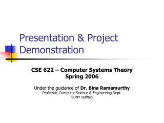 Presentation & Project Demonstration