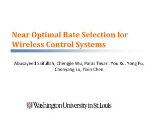 Near Optimal Rate Selection for Wireless Control Systems