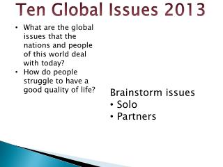 Ten Global Issues 2013