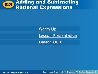 9.2 Adding  Subtracting Rational Expressions