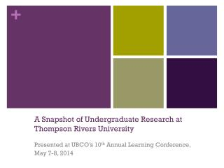 A Snapshot of Undergraduate Research at Thompson Rivers University
