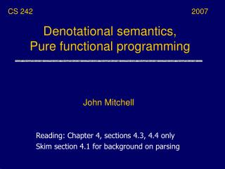 Denotational semantics, Pure functional programming