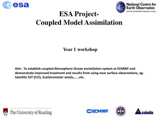 ESA Project- Coupled Model Assimilation