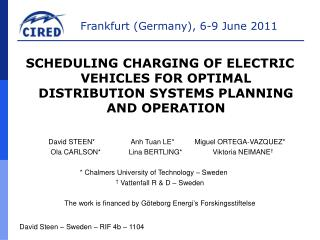 SCHEDULING CHARGING OF ELECTRIC VEHICLES FOR OPTIMAL DISTRIBUTION SYSTEMS PLANNING AND OPERATION