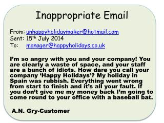 Inappropriate Email