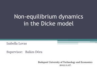 Non-equilibrium dynamics in the Dicke model