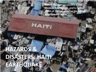 HAZARDS & DISASTERS: HAITI EARTHQUAKE