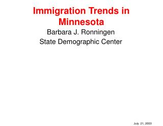 Immigration Trends in  Minnesota