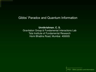 Gibbs' Paradox and Quantum Information
