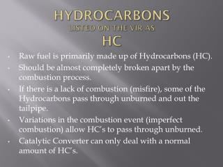 Hydrocarbons Listed on the VIR as HC