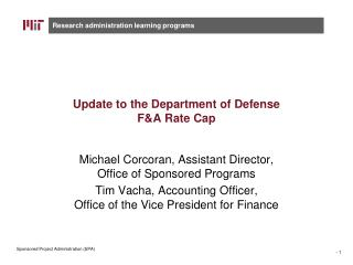 Update to the Department of Defense F&A Rate Cap