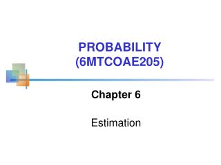 Chapter  6 Estimation