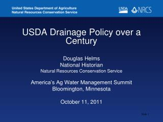 USDA Drainage Policy over a Century